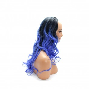 "22"" Ladies 3/4 WIG Half Fall WAVY Black / Blue Ombre"