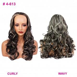 """22"""" Ladies 3/4 WIG Half Fall CURLY Dark Brown/Blonde Mix #4/613"""