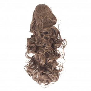 22 Inch Ponytail Curly Claw Clip - Light Chocolate Brown