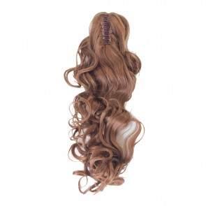 22 Inch Ponytail Curly Claw Clip - Light Auburn