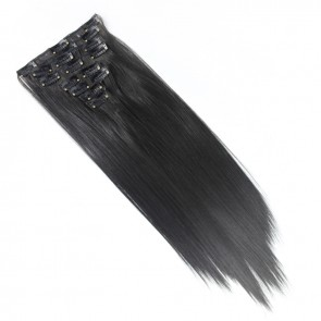 18 Inch Clip in Hair Extensions Straight 8pcs - Darkest Brown