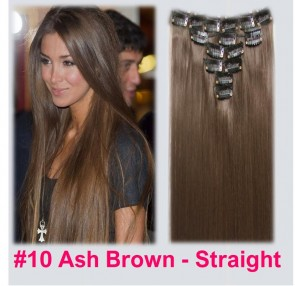 """22"""" Clip in Hair Extensions STRAIGHT Light Ash Brown #10 FULL HEAD 8pcs"""