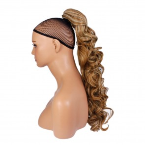 22 Inch Ponytail Curly Claw Clip - Strawberry Blonde Mix #27/613