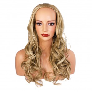 22 Inch Ladies 3/4 Wig Wavy - Ash Blonde Mix