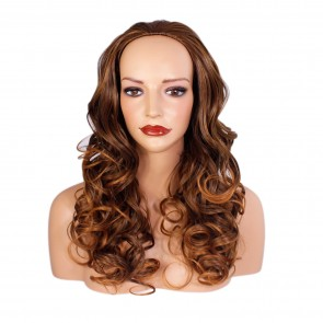 "22"" Ladies 3/4 WIG Half Fall CURLY Brown/Auburn Tips #6T30"