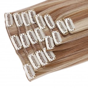 18 Inch Clip in Hair Extensions Straight 8pcs - Blonde Mix #18/613