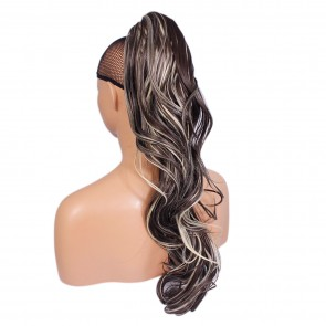 22 Inch Ponytail Flick Claw Clip - Dark Brown / Blonde Mix #4/613
