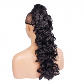 "22"" PONYTAIL CURLY Darkest Brown #2 REVERSIBLE Claw Clip"