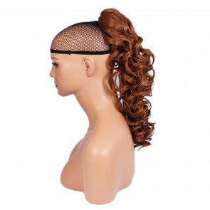 17 Inch Ponytail Curly Claw Clip - Light Auburn