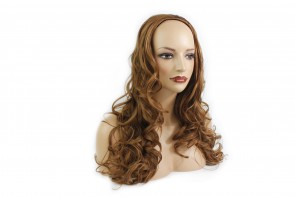 22 Inch Ladies 3/4 Wig Curly - Light Auburn
