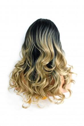 22 Inch Ladies 3/4 Wig Wavy - Black / Sandy Blonde Ombre
