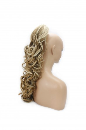 22 Inch Ponytail Wavy Claw Clip - Strawberry Blonde Mix #27/613