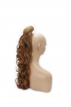 "22"" PONYTAIL CURLY Light Auburn #30Y REVERSIBLE Claw Clip"