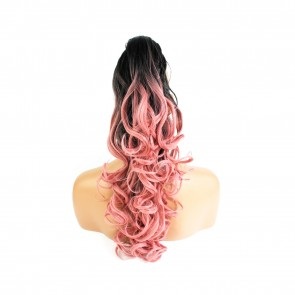 22 Inch Ponytail Wavy Claw Clip - Black / Pink Ombre