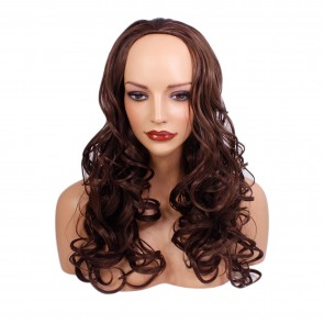 22 Inch Ladies 3/4 Wig Wavy - Chocolate Brown