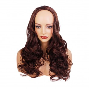 22 Inch Ladies 3/4 Wig Wavy -  Dark Auburn