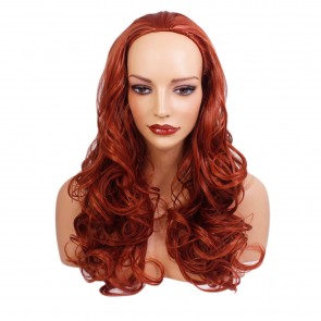 22 Inch Ladies 3/4 Wig Wavy - Copper #350