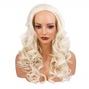 22 Inch Ladies 3/4 Wig Curly - White Blonde