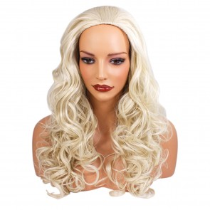 22 Inch Ladies 3/4 Wig Curly - Platinum Blonde