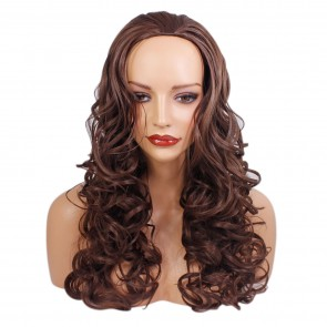 22 Inch Ladies 3/4 Wig Curly - Chocolate Brown