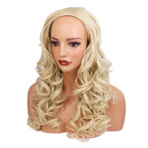 22 Inch Ladies 3/4 Wig Curly - Lightest Blonde
