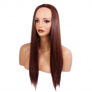 "22"" Ladies 3/4 WIG Half Fall STRAIGHT Dark Auburn #33"