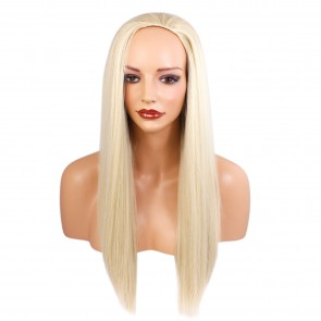 22 Inch Ladies 3/4 Wig Straight - Light Blonde