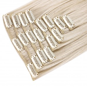 18 Inch Clip in Hair Extensions Straight 8pcs - Platinum Blonde
