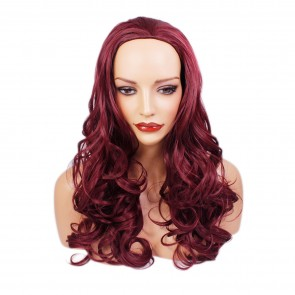 "22"" Ladies 3/4 WIG Half Fall WAVY Burgundy"
