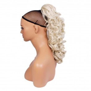 """17"""" PONYTAIL CURLY Platinum Blonde #16/60 REVERSIBLE Claw Clip"""