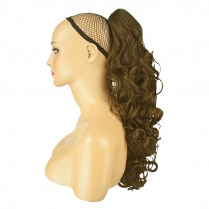 17 Inch Ponytail Curly - Ash Brown
