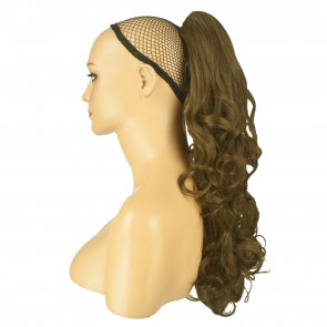 22 Inch Ponytail Falling Curls Claw Clip - Ash Brown