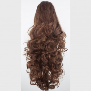"17"" PONYTAIL CURLY Chestnut Brown REVERSIBLE Claw Clip"
