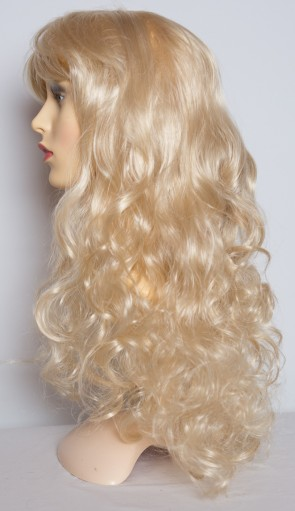 "22"" Ladies Full Length Long WIG Clip In Hair Piece CURLY Light Blonde #613"