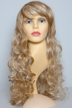 "22"" Ladies Full WIG Clip In Hair Piece CURLY Strawberry Blonde Mix #27/613"