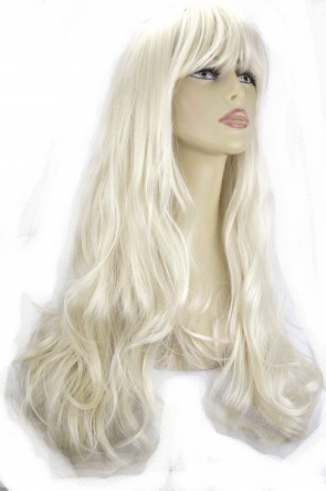 22 Inch Ladies Full Wig Wavy - Platinum Blonde