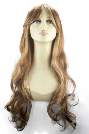 22 Inch Ladies Full Wig Wavy - Medium Brown/Blonde #6/613