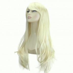 "20"" Ladies Full WIG Long Hair Piece FLICK Style Lightest Blonde #60"