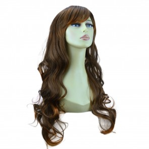 "22"" Ladies Full WIG Long Hair Piece LOOSE WAVES Brown/Auburn Tips #6T30"