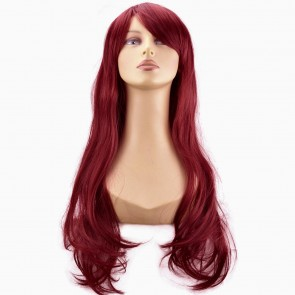 "20"" Ladies Full WIG Long Hair Piece FLICK Style Burgundy"