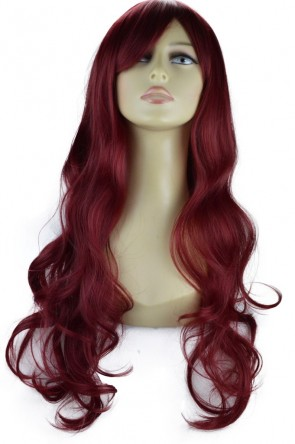 "22"" Ladies Full WIG Long Hair Piece LOOSE WAVES Burgundy"