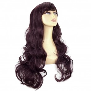 "22"" Ladies Full WIG Long Hair Piece WAVY Dark Plum #99J/1"