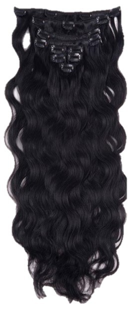 "20/22"" Clip in Hair Extensions CURLY Jet Black #1 FULL HEAD 8pcs"