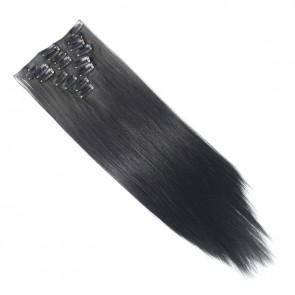 "15"" Clip in Hair Extensions STRAIGHT Jet Black #1 FULL HEAD 8pcs"