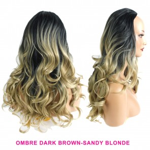 22 Inch Ladies 3/4 Wig Wavy - Black / Sandy Blonde Ombre