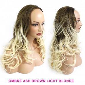 """22"""" Ladies 3/4 WIG Half Fall WAVY Ash Brown / Blonde Ombre"""