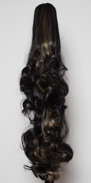 "22"" PONYTAIL FALLING CURLS Black/Blonde Highlights #1b/H27"