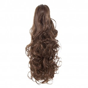 17 Inch Ponytail Curly Claw Clip - Chocolate Brown