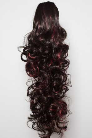 """22"""" PONYTAIL CURLY Darkest Brown/Red Highlights Reversible Claw Clip"""
