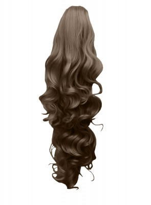 """22"""" PONYTAIL FALLING CURLS Light Brown #12 REVERSIBLE Claw Clip"""